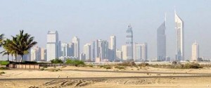 Dubai with desert and city